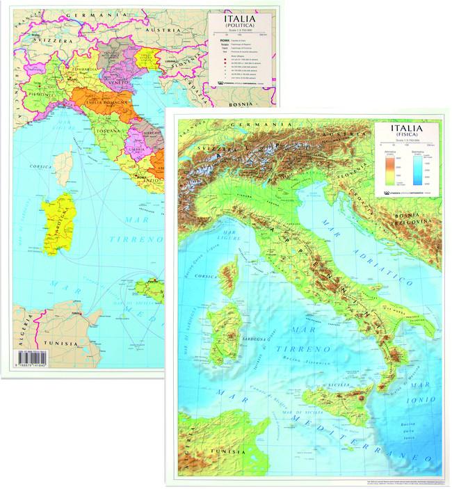 Cartina Politica Italia Formato A3.Augusto Berni Spa Carta Geografica Italia Bifacciale